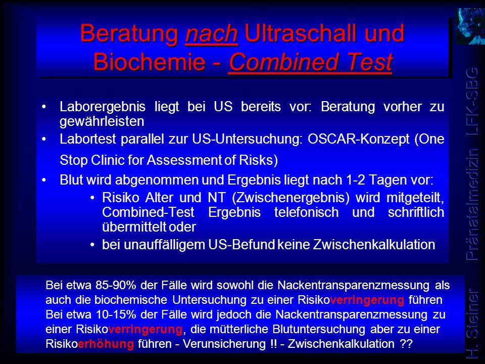 Beratung nach Ultraschall und Biochemie - Combined Test Laborergebnis liegt bei US bereits vor: Beratung vorher zu gewährleisten Labortest parallel zu