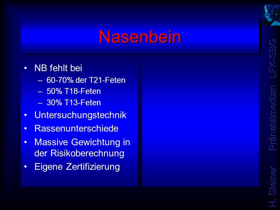 NasenbeinNasenbein NB fehlt bei –60-70% der T21-Feten –50% T18-Feten –30% T13-Feten Untersuchungstechnik Rassenunterschiede Massive Gewichtung in der