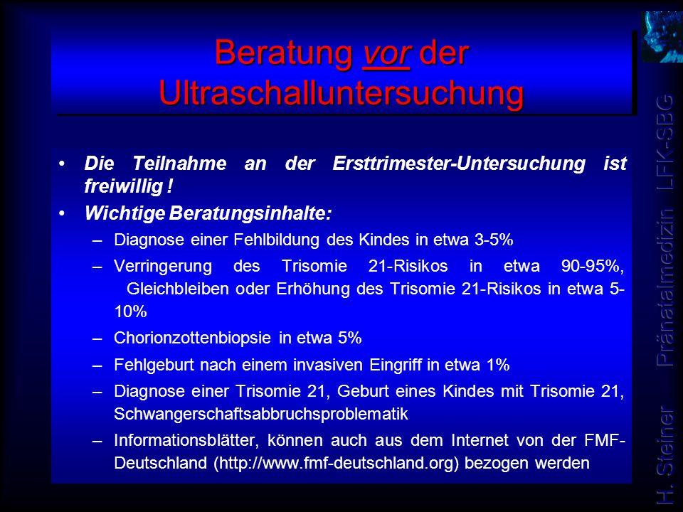 Beratung vor der Ultraschalluntersuchung Die Teilnahme an der Ersttrimester-Untersuchung ist freiwillig ! Wichtige Beratungsinhalte: –Diagnose einer F