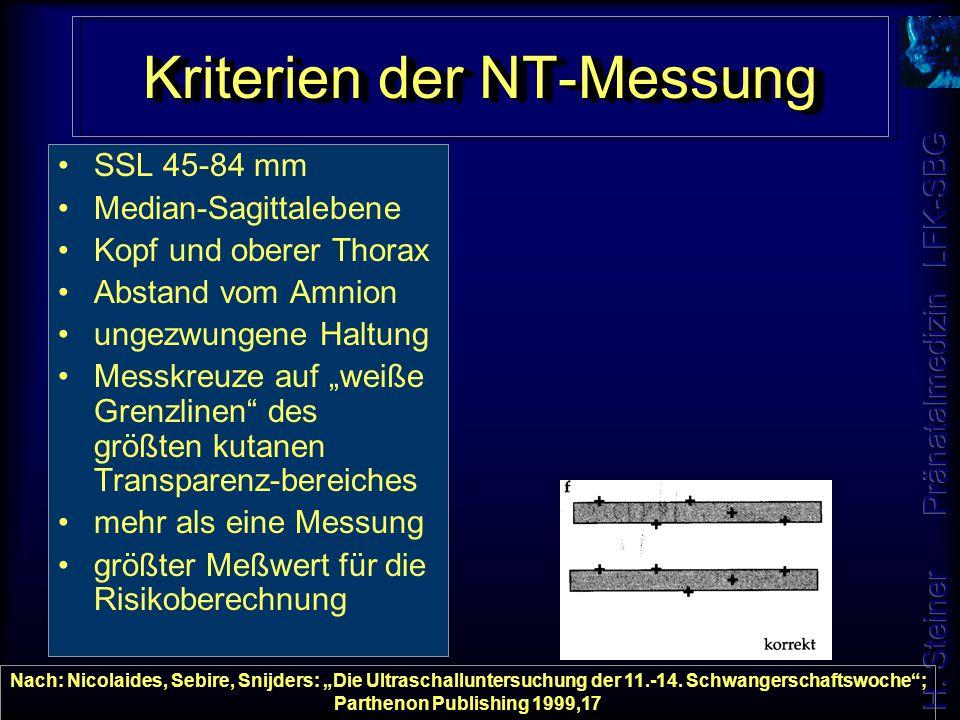 """Kriterien der NT-Messung SSL 45-84 mm Median-Sagittalebene Kopf und oberer Thorax Abstand vom Amnion ungezwungene Haltung Messkreuze auf """"weiße Grenzl"""