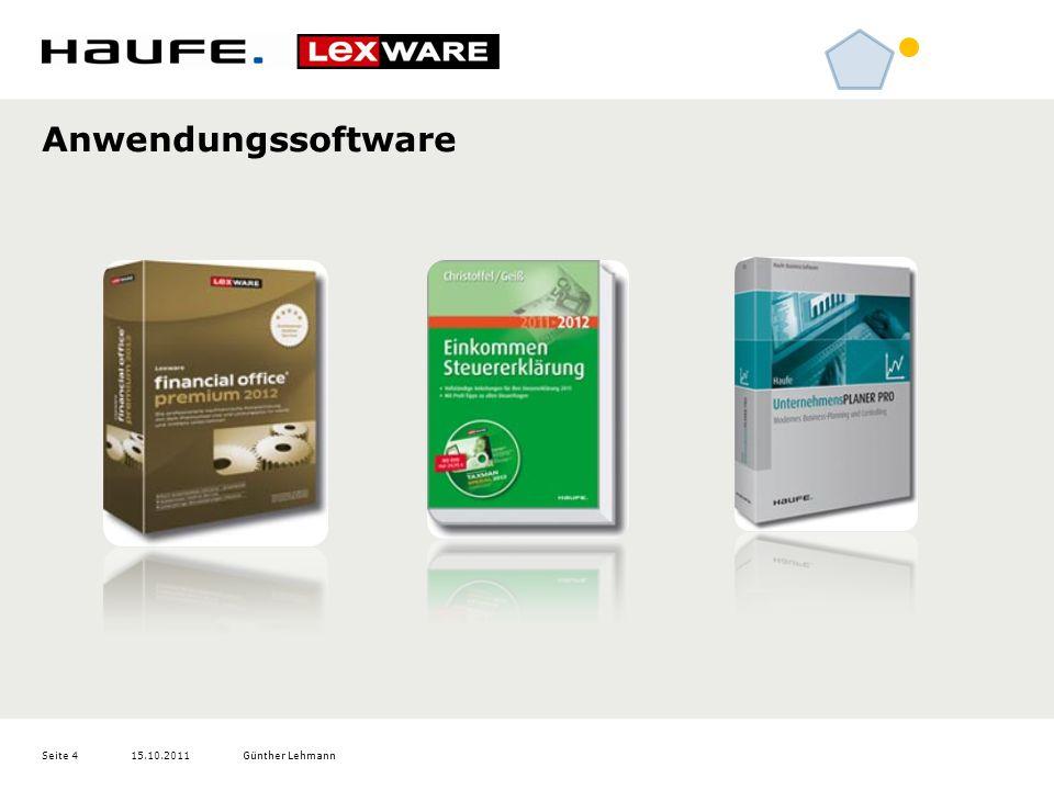 15.10.2011Günther LehmannSeite 4 Anwendungssoftware