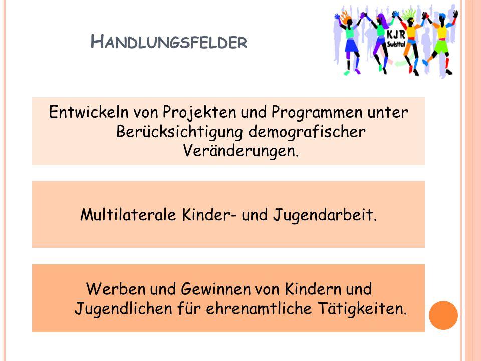 H ANDLUNGSFELDER Entwickeln von Projekten und Programmen unter Berücksichtigung demografischer Veränderungen. Multilaterale Kinder- und Jugendarbeit.
