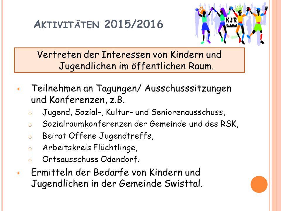 A KTIVITÄTEN 2015/2016  Teilnehmen an Tagungen/ Ausschusssitzungen und Konferenzen, z.B. o Jugend, Sozial-, Kultur- und Seniorenausschuss, o Sozialra