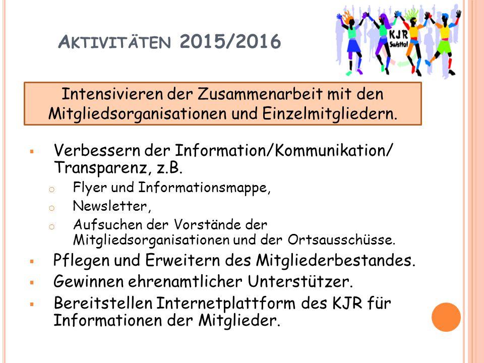 A KTIVITÄTEN 2015/2016  Intensivieren der Zusammenarbeit mit dem Kreisjugendamt.