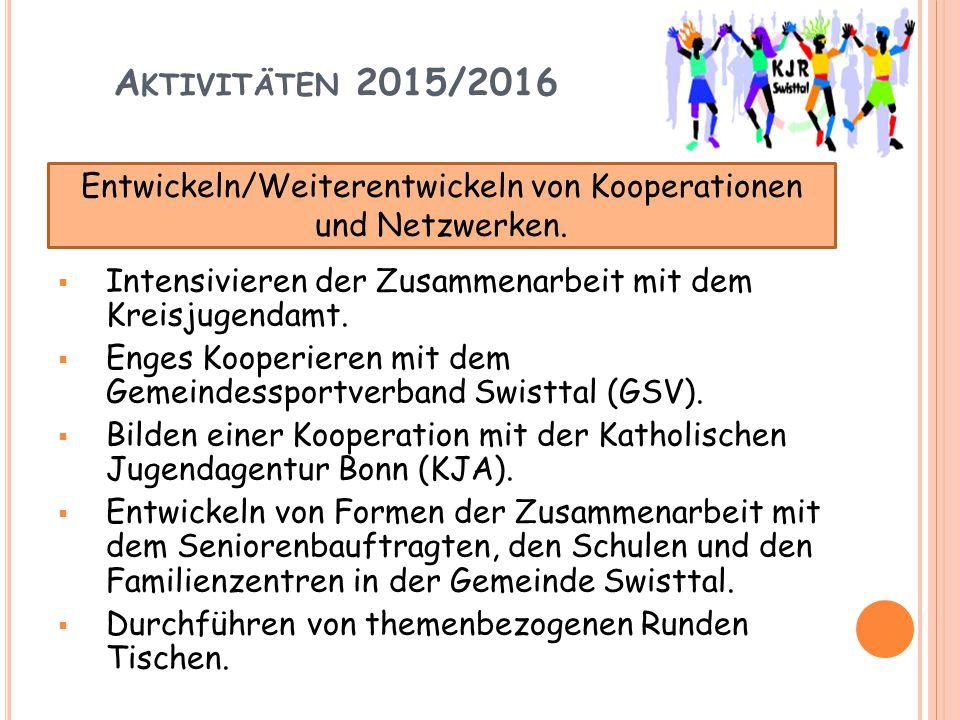 A KTIVITÄTEN 2015/2016  Intensivieren der Zusammenarbeit mit dem Kreisjugendamt.  Enges Kooperieren mit dem Gemeindessportverband Swisttal (GSV). 