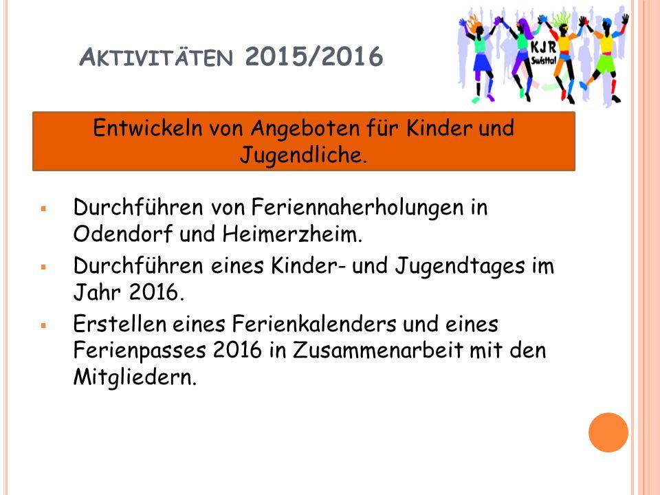 A KTIVITÄTEN 2015/2016  Durchführen von Feriennaherholungen in Odendorf und Heimerzheim.  Durchführen eines Kinder- und Jugendtages im Jahr 2016. 