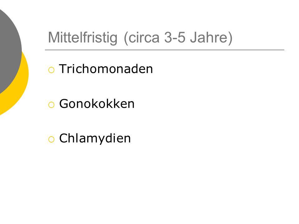 Mittelfristig (circa 3-5 Jahre)  Trichomonaden  Gonokokken  Chlamydien