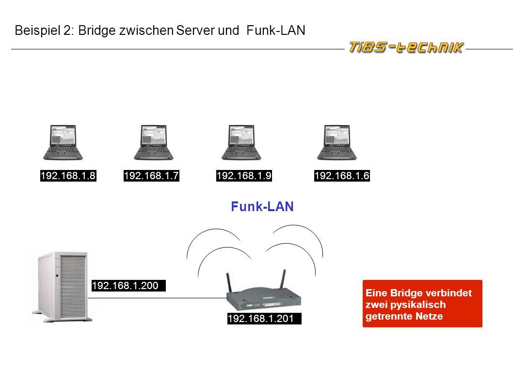 Beispiel 2: Bridge zwischen Server und Funk-LAN Funk-LAN 192.168.1.6192.168.1.9192.168.1.7192.168.1.8 192.168.1.200 192.168.1.201 Eine Bridge verbinde