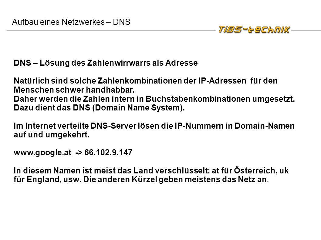 Aufbau eines Netzwerkes – DNS DNS – Lösung des Zahlenwirrwarrs als Adresse Natürlich sind solche Zahlenkombinationen der IP-Adressen für den Menschen