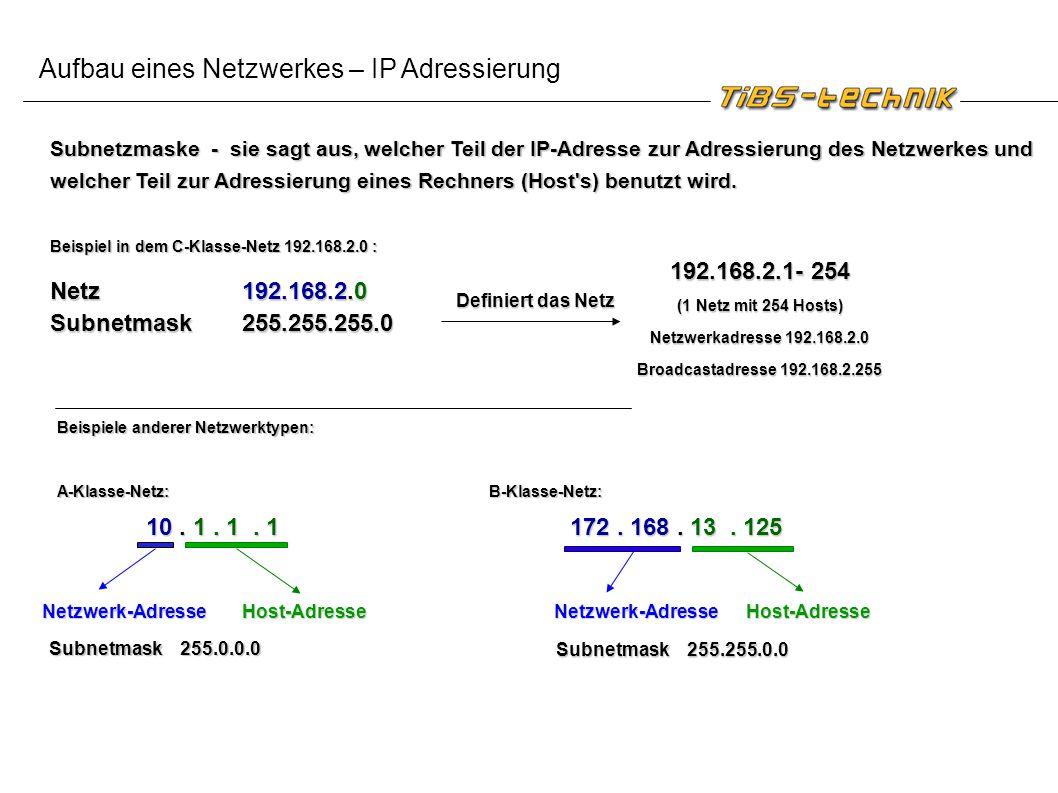 Subnetzmaske - sie sagt aus, welcher Teil der IP-Adresse zur Adressierung des Netzwerkes und welcher Teil zur Adressierung eines Rechners (Host's) ben