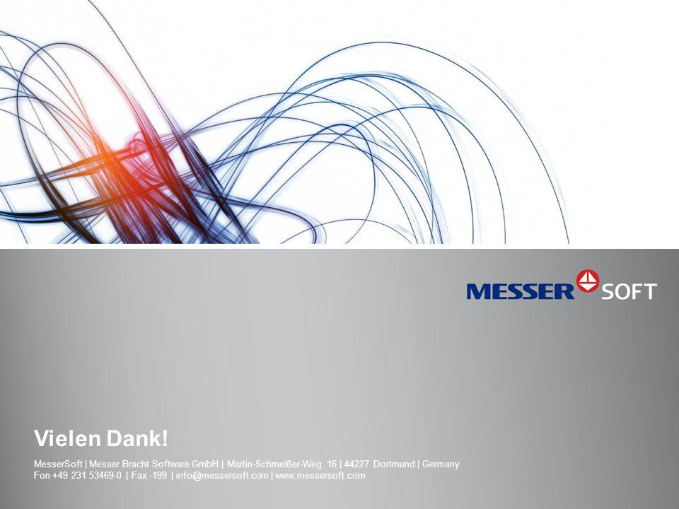 Vielen Dank! MesserSoft | Messer Bracht Software GmbH | Martin-Schmeißer-Weg 16 | 44227 Dortmund | Germany Fon +49 231 53469-0 | Fax -199 | info@messe