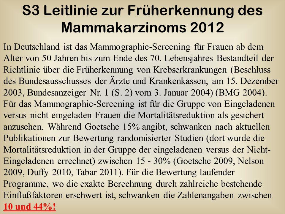 S3 Leitlinie zur Früherkennung des Mammakarzinoms 2012 In Deutschland ist das Mammographie-Screening für Frauen ab dem Alter von 50 Jahren bis zum End
