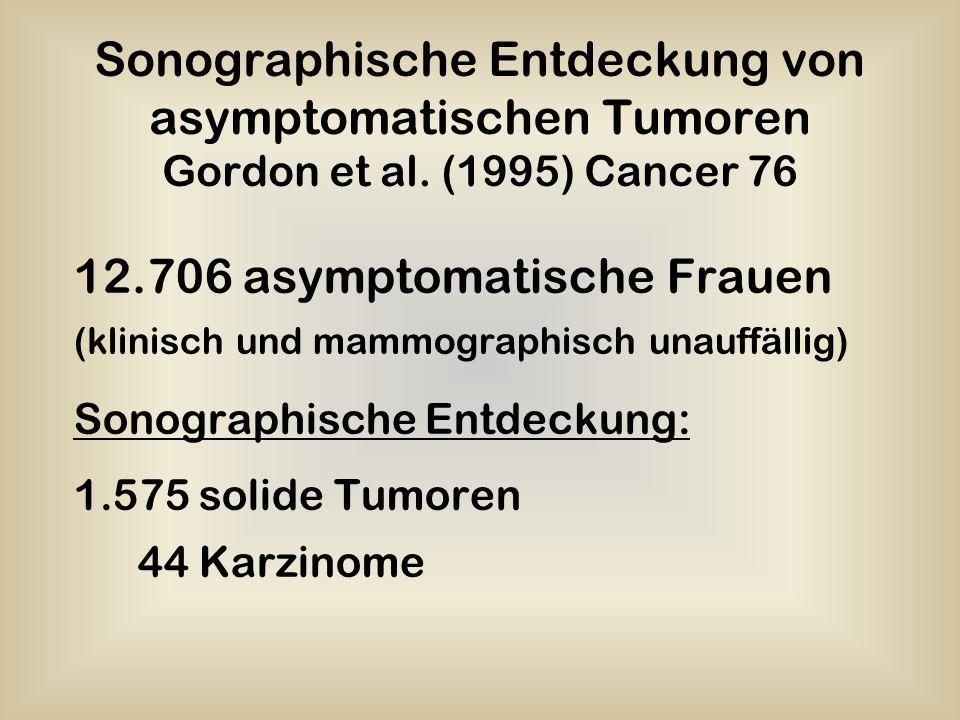 Sonographische Entdeckung von asymptomatischen Tumoren Gordon et al. (1995) Cancer 76 12.706 asymptomatische Frauen (klinisch und mammographisch unauf