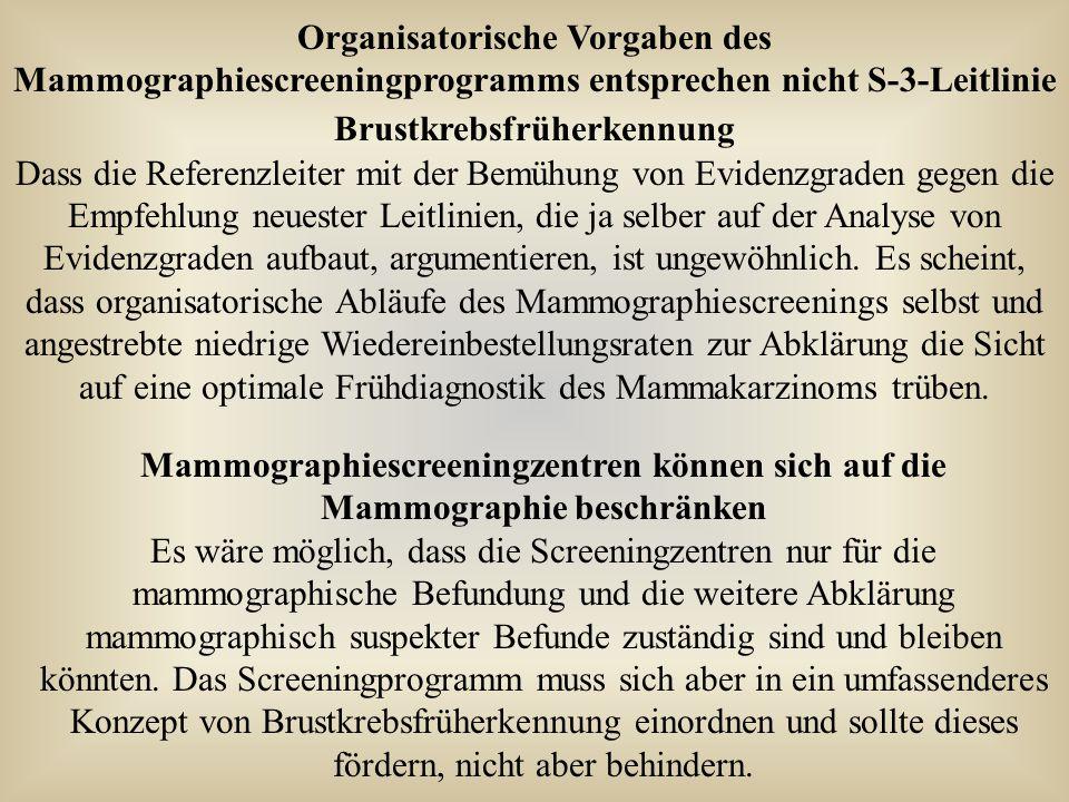 Organisatorische Vorgaben des Mammographiescreeningprogramms entsprechen nicht S-3-Leitlinie Brustkrebsfrüherkennung Dass die Referenzleiter mit der B