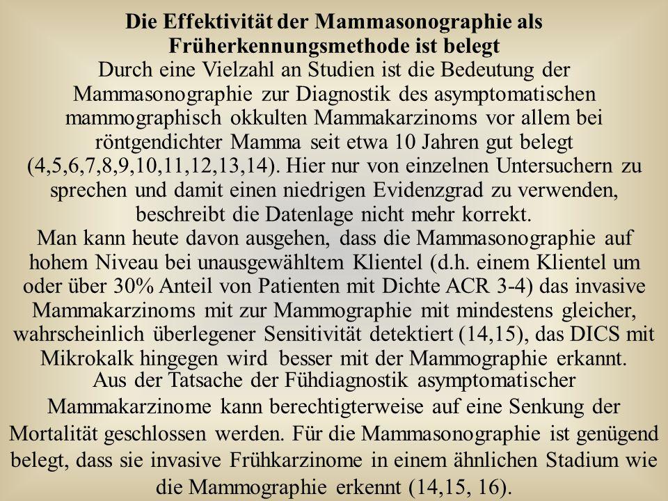 Die Effektivität der Mammasonographie als Früherkennungsmethode ist belegt Durch eine Vielzahl an Studien ist die Bedeutung der Mammasonographie zur D
