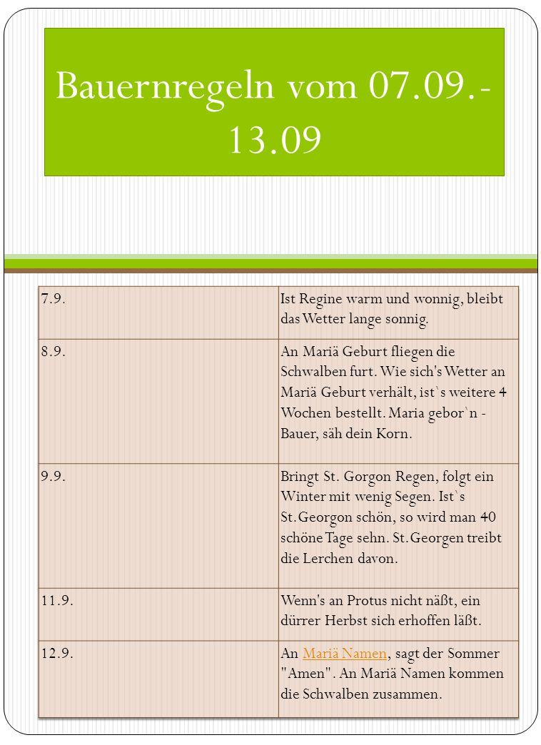 Bauernregeln vom 07.09.- 13.09