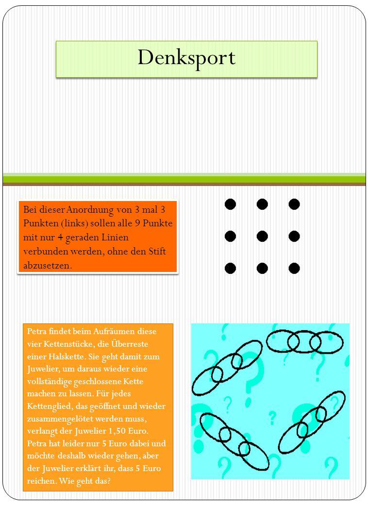 Denksport Bei dieser Anordnung von 3 mal 3 Punkten (links) sollen alle 9 Punkte mit nur 4 geraden Linien verbunden werden, ohne den Stift abzusetzen.