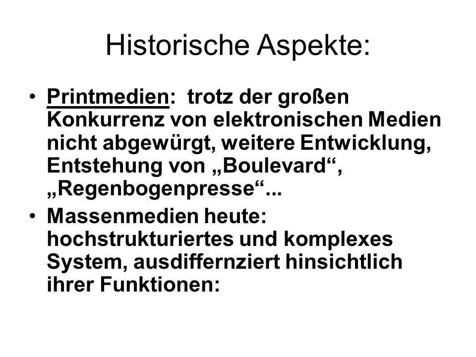 """Historische Aspekte: Printmedien: trotz der großen Konkurrenz von elektronischen Medien nicht abgewürgt, weitere Entwicklung, Entstehung von """"Boulevard , """"Regenbogenpresse ..."""