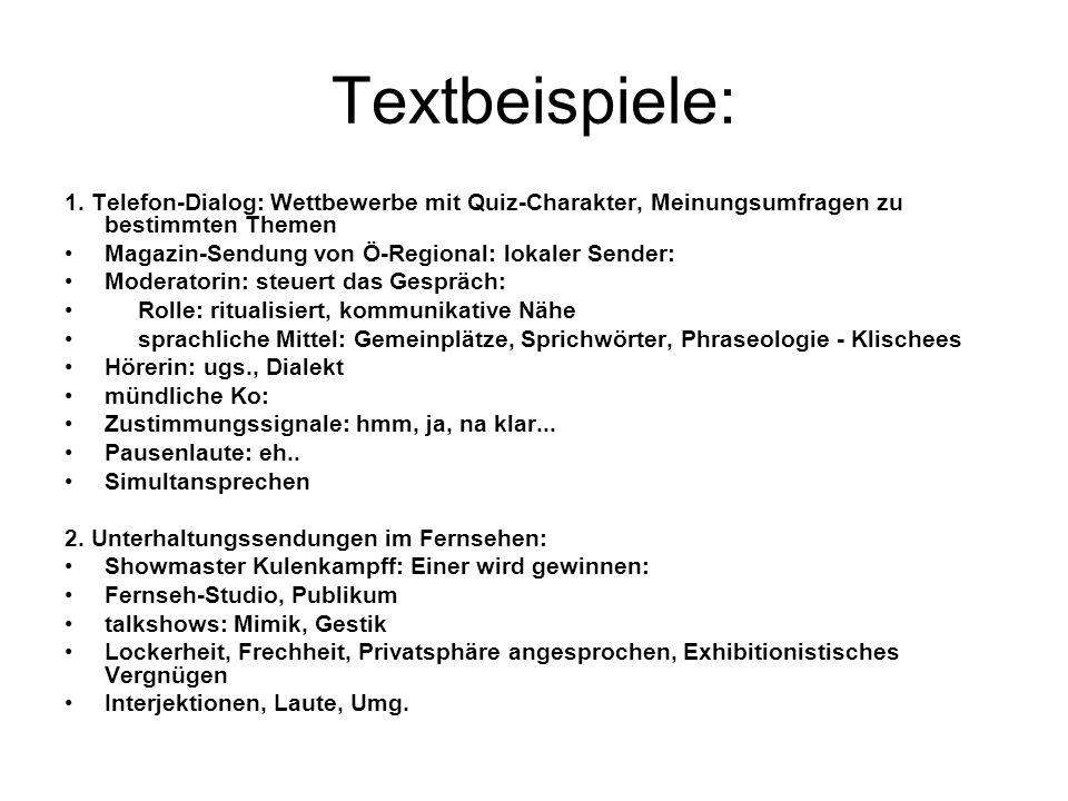 Textbeispiele: 1.