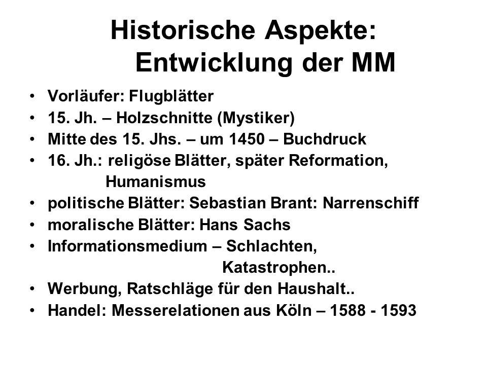 Historische Aspekte: Entwicklung der MM Vorläufer: Flugblätter 15.