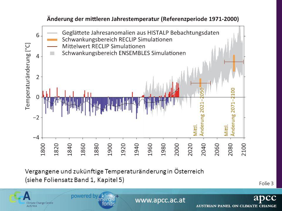apcc AUSTRIAN PANEL ON CLIMATE CHANGE www.apcc.ac.at Folie 4 Auswirkungen des Klimawandels in Österreich Der Klimawandel beeinträchtigt Bodenfunktionen wie Bodenfruchtbarkeit, Wasser- und Nährstoffspeicherkapazität, Humusabbau und Erosion.