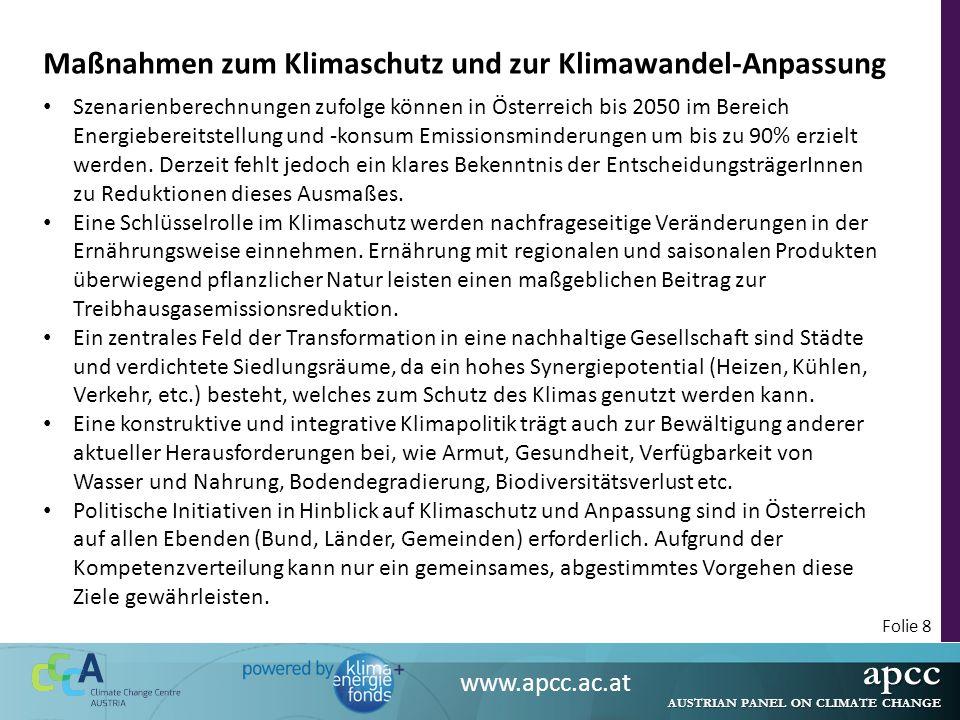 apcc AUSTRIAN PANEL ON CLIMATE CHANGE www.apcc.ac.at Folie 9