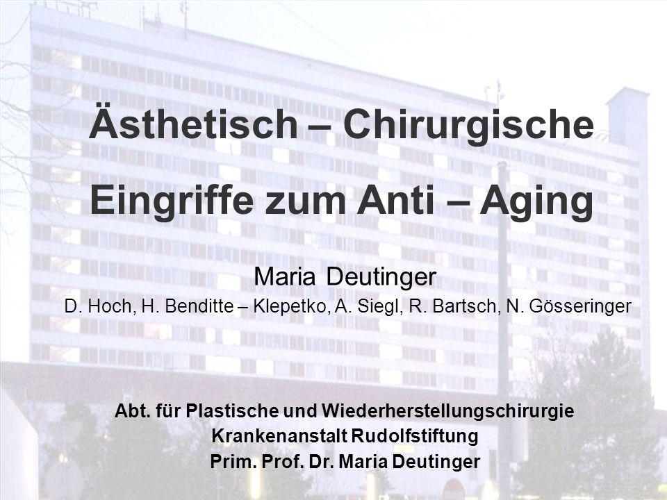 Abt. für Plastische und Wiederherstellungschirurgie Krankenanstalt Rudolfstiftung Prim. Prof. Dr. Maria Deutinger Ästhetisch – Chirurgische Eingriffe