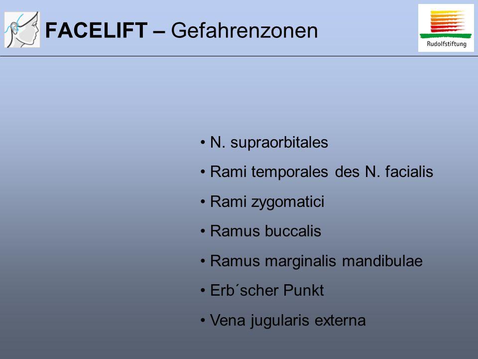 FACELIFT – Gefahrenzonen N. supraorbitales Rami temporales des N. facialis Rami zygomatici Ramus buccalis Ramus marginalis mandibulae Erb´scher Punkt