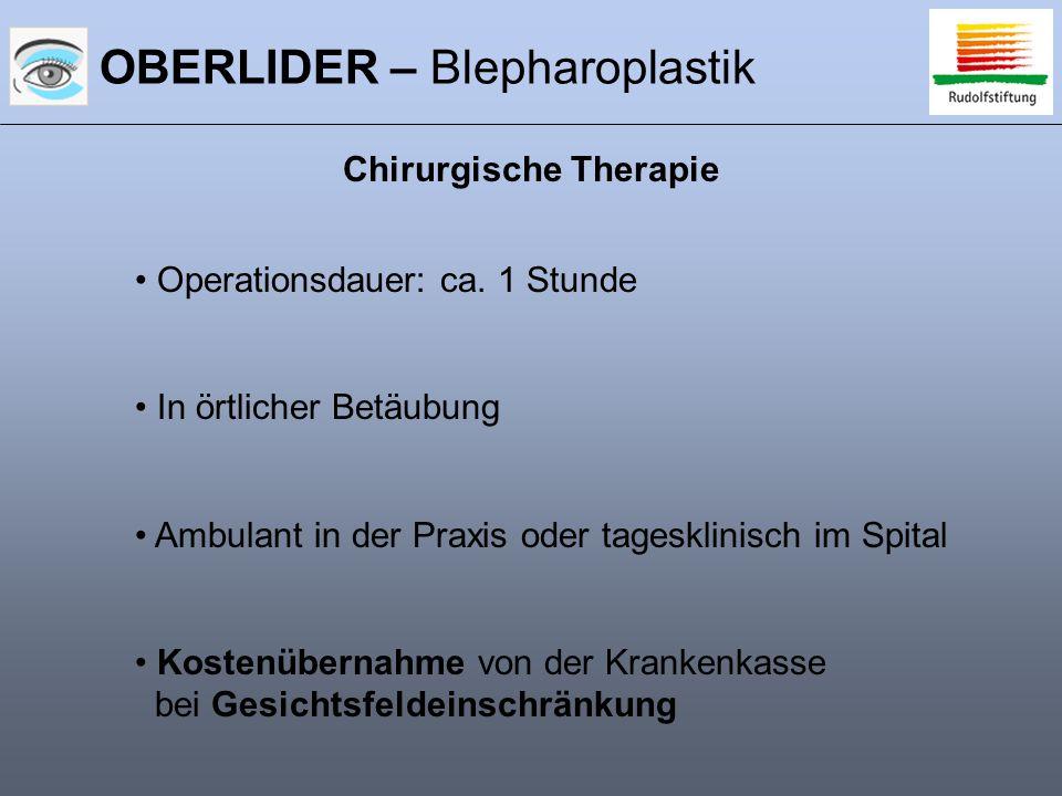 OBERLIDER – Blepharoplastik Chirurgische Therapie Operationsdauer: ca. 1 Stunde In örtlicher Betäubung Ambulant in der Praxis oder tagesklinisch im Sp