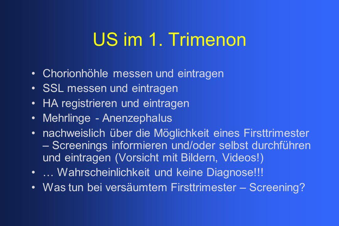 US im 1. Trimenon Chorionhöhle messen und eintragen SSL messen und eintragen HA registrieren und eintragen Mehrlinge - Anenzephalus nachweislich über