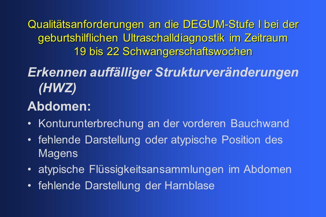 Qualitätsanforderungen an die DEGUM-Stufe I bei der geburtshilflichen Ultraschalldiagnostik im Zeitraum 19 bis 22 Schwangerschaftswochen Erkennen auffälliger Strukturveränderungen (HWZ) Rücken: unregelmäßige Kontur im Längsschnitt