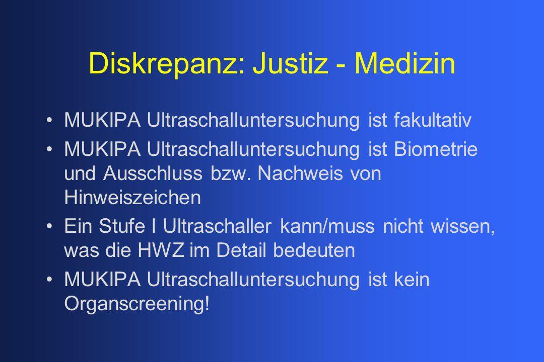 Diskrepanz: Justiz - Medizin MUKIPA Ultraschalluntersuchung ist fakultativ MUKIPA Ultraschalluntersuchung ist Biometrie und Ausschluss bzw. Nachweis v