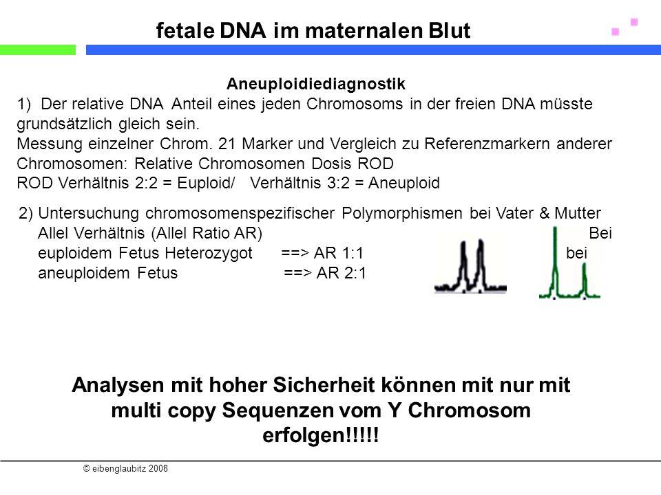 © eibenglaubitz 2008 fetale DNA im maternalen Blut Aneuploidiediagnostik 1) Der relative DNA Anteil eines jeden Chromosoms in der freien DNA müsste gr