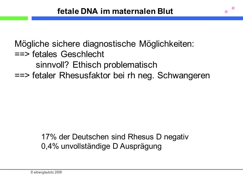 © eibenglaubitz 2008 fetale DNA im maternalen Blut Mögliche sichere diagnostische Möglichkeiten: ==> fetales Geschlecht sinnvoll? Ethisch problematisc