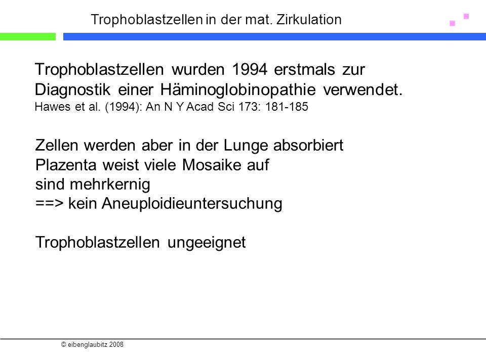 © eibenglaubitz 2008 Trophoblastzellen in der mat. Zirkulation Trophoblastzellen wurden 1994 erstmals zur Diagnostik einer Häminoglobinopathie verwend