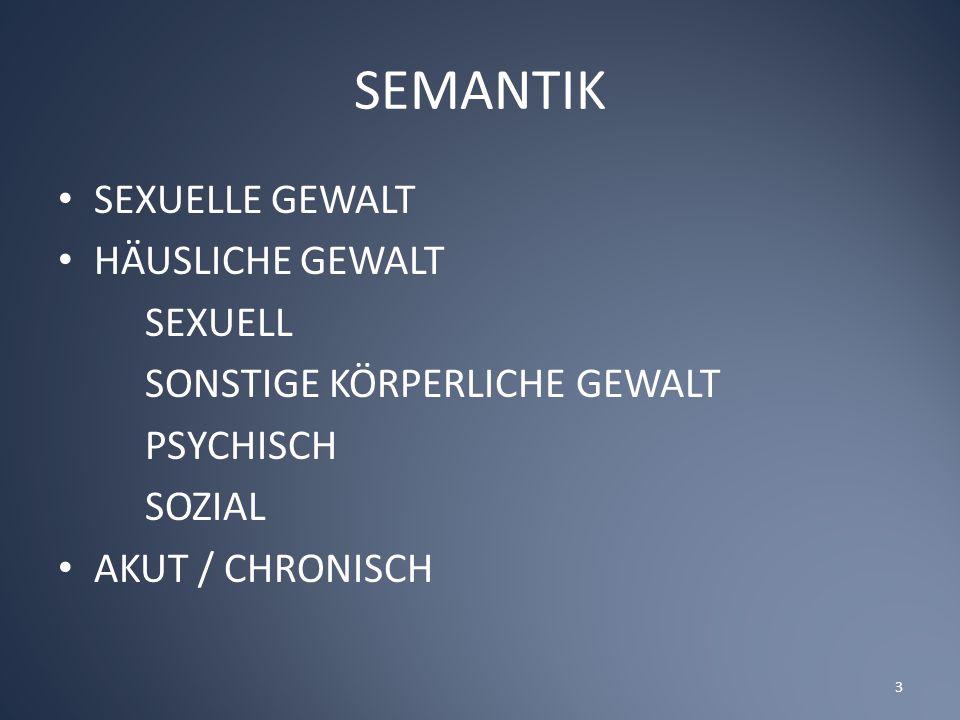 SEMANTIK SEXUELLE GEWALT HÄUSLICHE GEWALT SEXUELL SONSTIGE KÖRPERLICHE GEWALT PSYCHISCH SOZIAL AKUT / CHRONISCH 3