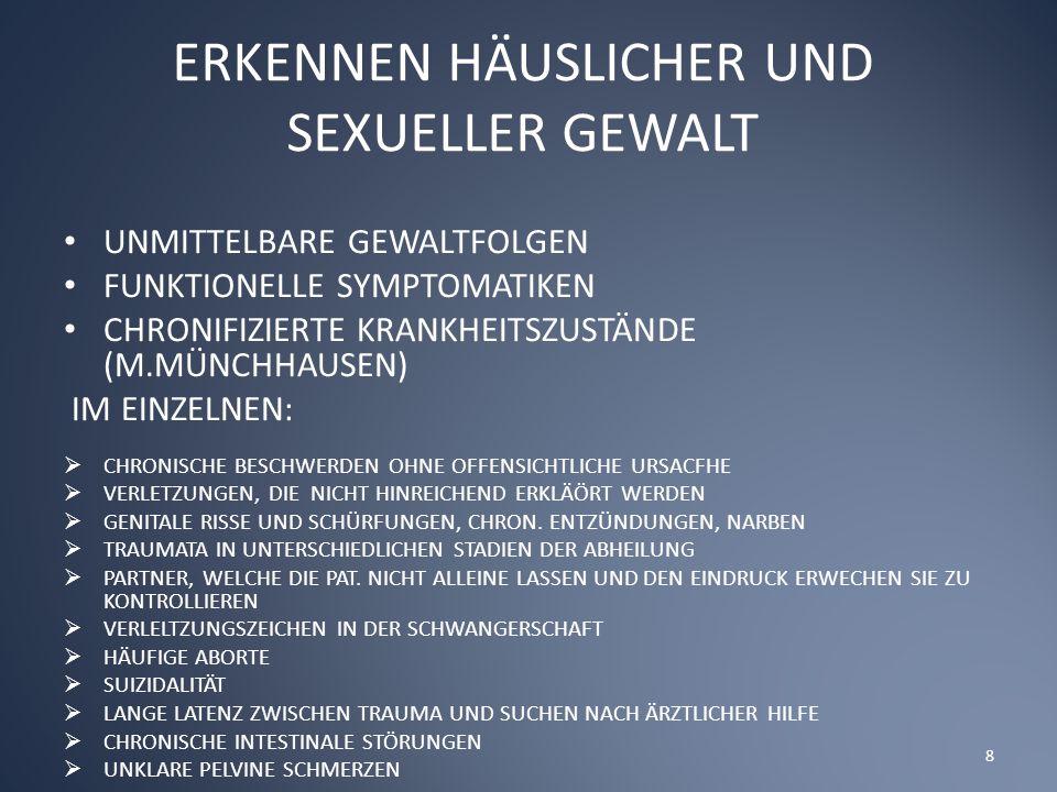 ERKENNEN HÄUSLICHER UND SEXUELLER GEWALT UNMITTELBARE GEWALTFOLGEN FUNKTIONELLE SYMPTOMATIKEN CHRONIFIZIERTE KRANKHEITSZUSTÄNDE (M.MÜNCHHAUSEN) IM EINZELNEN:  CHRONISCHE BESCHWERDEN OHNE OFFENSICHTLICHE URSACFHE  VERLETZUNGEN, DIE NICHT HINREICHEND ERKLÄÖRT WERDEN  GENITALE RISSE UND SCHÜRFUNGEN, CHRON.