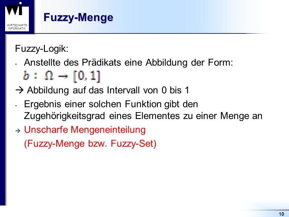 10 WIRTSCHAFTS INFORMATIKFuzzy-Menge Fuzzy-Logik: - Anstellte des Prädikats eine Abbildung der Form:  Abbildung auf das Intervall von 0 bis 1 - Ergeb