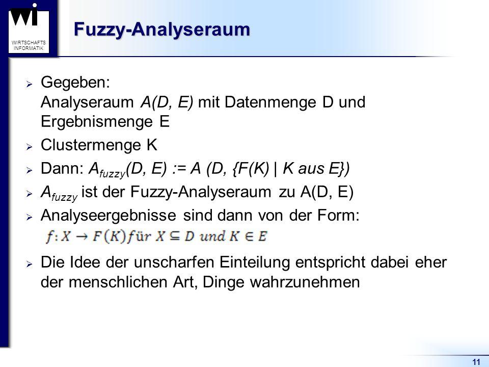11 WIRTSCHAFTS INFORMATIKFuzzy-Analyseraum  Gegeben: Analyseraum A(D, E) mit Datenmenge D und Ergebnismenge E  Clustermenge K  Dann: A fuzzy (D, E)
