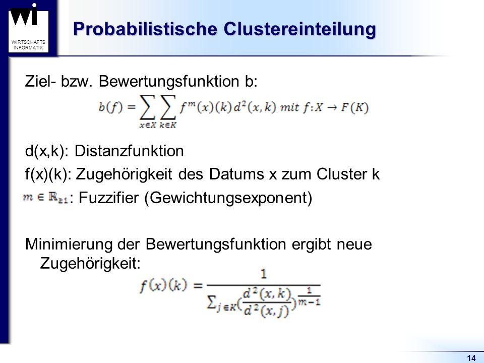 14 WIRTSCHAFTS INFORMATIK Probabilistische Clustereinteilung Ziel- bzw. Bewertungsfunktion b: d(x,k): Distanzfunktion f(x)(k): Zugehörigkeit des Datum