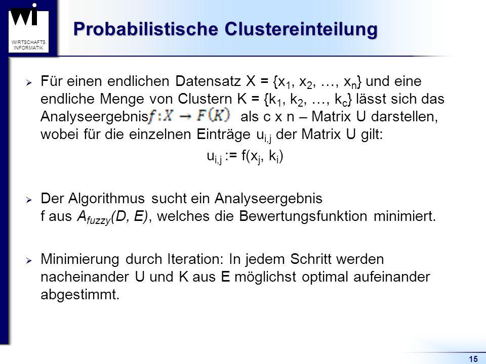 15 WIRTSCHAFTS INFORMATIK Probabilistische Clustereinteilung  Für einen endlichen Datensatz X = {x 1, x 2, …, x n } und eine endliche Menge von Clust