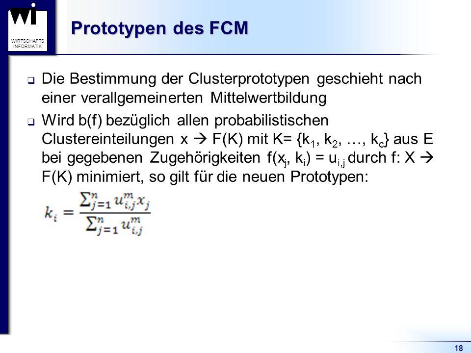 18 WIRTSCHAFTS INFORMATIK Prototypen des FCM  Die Bestimmung der Clusterprototypen geschieht nach einer verallgemeinerten Mittelwertbildung  Wird b(