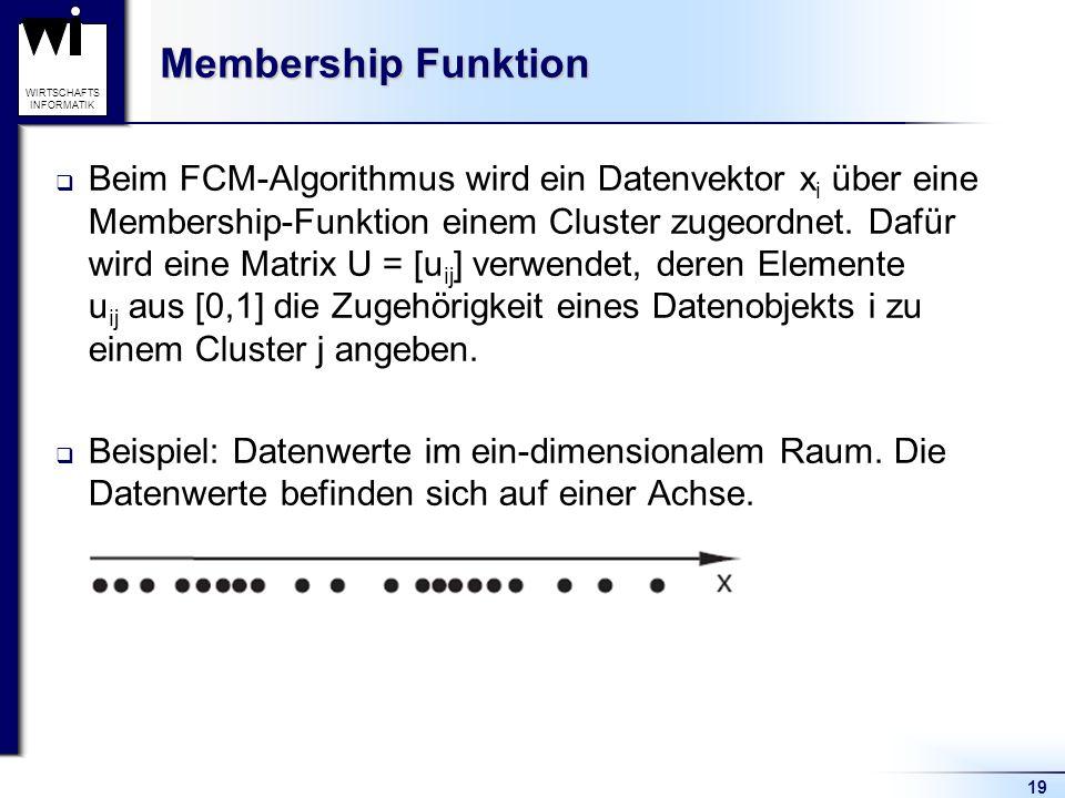 19 WIRTSCHAFTS INFORMATIK Membership Funktion  Beim FCM-Algorithmus wird ein Datenvektor x i über eine Membership-Funktion einem Cluster zugeordnet.
