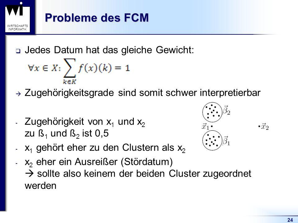 24 WIRTSCHAFTS INFORMATIK Probleme des FCM  Jedes Datum hat das gleiche Gewicht:  Zugehörigkeitsgrade sind somit schwer interpretierbar - Zugehörigk