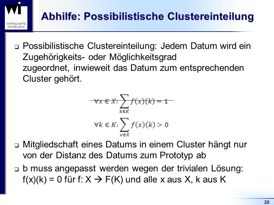 25 WIRTSCHAFTS INFORMATIK Abhilfe: Possibilistische Clustereinteilung  Possibilistische Clustereinteilung: Jedem Datum wird ein Zugehörigkeits- oder