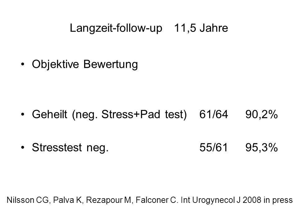 Langzeit-follow-up 11,5 Jahre Objektive Bewertung Geheilt (neg. Stress+Pad test)61/64 90,2% Stresstest neg.55/61 95,3% Nilsson CG, Palva K, Rezapour M