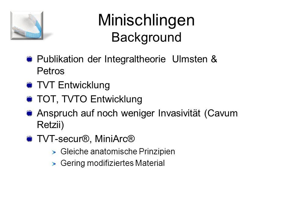 Publikation der Integraltheorie Ulmsten & Petros TVT Entwicklung TOT, TVTO Entwicklung Anspruch auf noch weniger Invasivität (Cavum Retzii) TVT-secur®