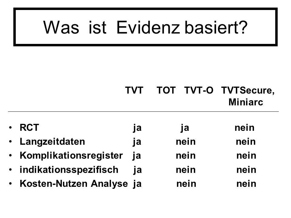 Was ist Evidenz basiert? TVT TOT TVT-O TVTSecure, Miniarc RCT ja ja nein Langzeitdaten ja nein nein Komplikationsregister ja nein nein indikationsspez