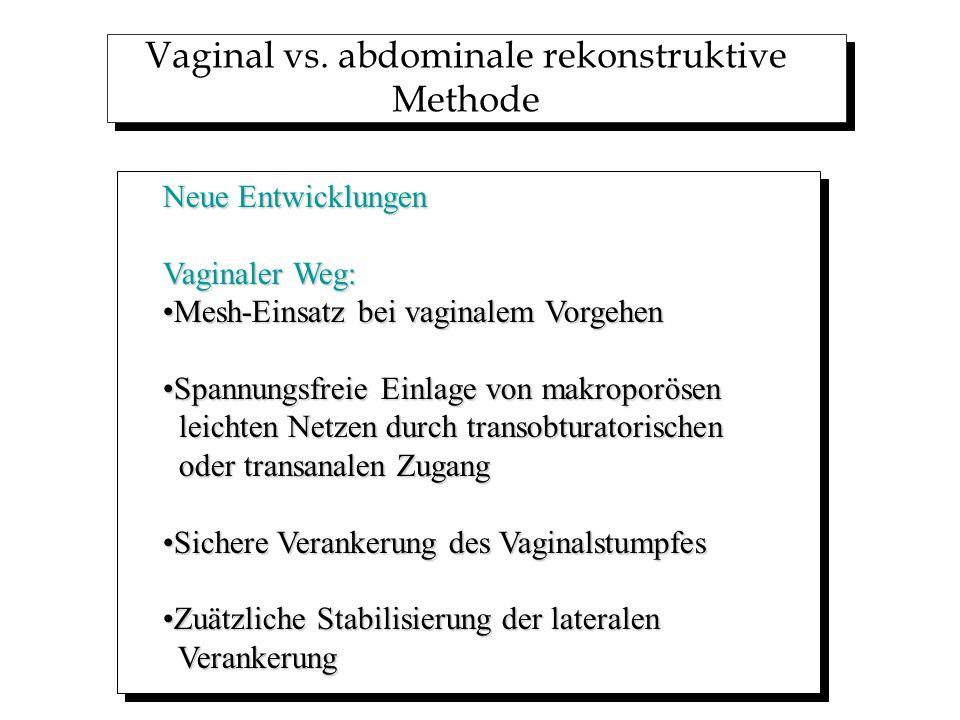 Vaginal vs. abdominale rekonstruktive Methode Neue Entwicklungen Vaginaler Weg: Mesh-Einsatz bei vaginalem VorgehenMesh-Einsatz bei vaginalem Vorgehen