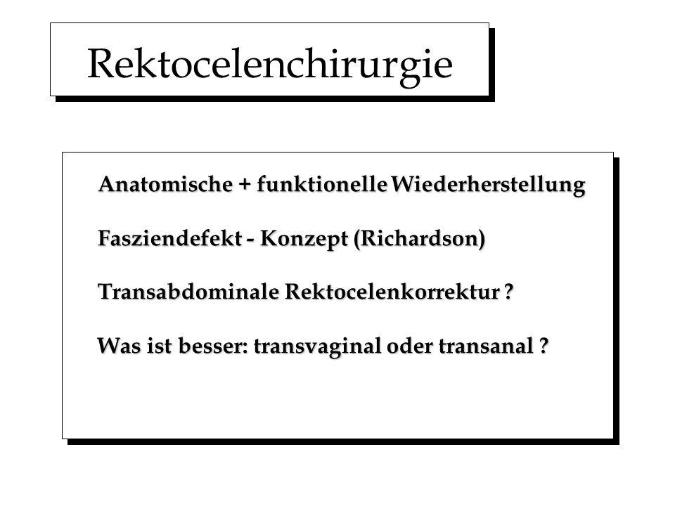 Rektocelenchirurgie Anatomische + funktionelle Wiederherstellung Fasziendefekt - Konzept (Richardson) Transabdominale Rektocelenkorrektur ? Was ist be